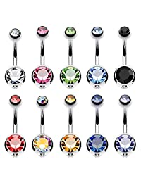 BodyJ4You 10PC Belly Button Ring Double Multicolor CZ Stainless Steel 14G Navel Body Piercing Jewelry