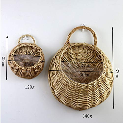 Fashionwu 2pcs Wickerwork Basket Rattan Hanging Flower Pot Woven Planter Home Decor Khaki