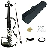 Kinglos 4/4 Black White Zebra Colored Solid Wood Advanced Electric / Silent Violin Kit with Ebony Fittings Full Size (DSG1302)
