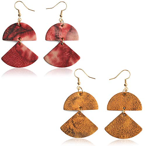 Genuine Leather Statement Earrings 2 Layers Geometric Leather Dangle Drop Geometric Lightweight for Women Girls (Goldenrod+Rose Red)