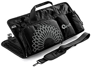 Yoga EVO Yoga Mat Wrap Carrier Bag with Open Ends, Mobile Pocket and Water Bottle Holder - Keeps Your Mat Dry and Odorless (Samurai Black)