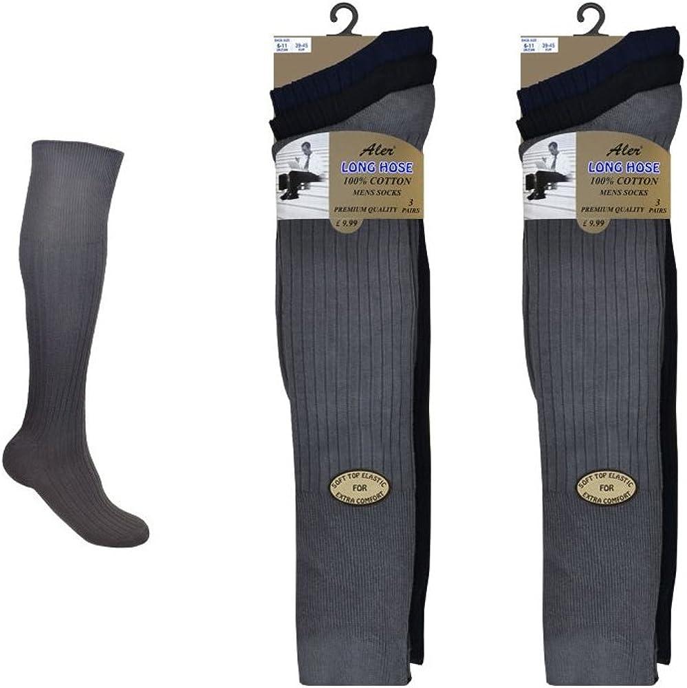 6 pares de calcetines de algodón extralargo 100% para hombre – calcetines largos para hombre Surtidos Oscuro: Amazon.es: Ropa y accesorios