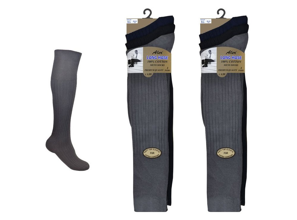 6 Pairs Mens Extra Long 100% Cotton Socks - Mens Long Hose Socks