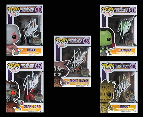Stan Lee Autographed/Signed Funko Pop! Marvel Series Guardians of the Galaxy Collector's Bundle with 5 Action Figures