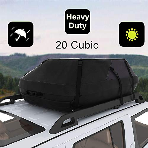 Oanon 20 Cubic Car Cargo Roof Bag - Waterproof Duty Car Roof Top Carrier - Easy to Install Soft Rooftop Luggage Carriers with Wide Straps 20 Cubic Feet (Thickened - 20 Cubic) (Storage Top Car)