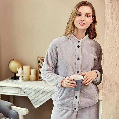Pijama Servicio Vellón Camisón Domicilio Franela Conjunto De Dormir brown Gray A l Damas Cardigan Ropa 5xXH0w