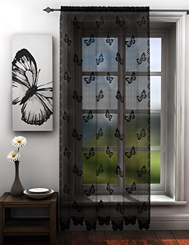 Butterflies lace net curtain panel black butterfly voile curtain panel 56x84 inches drop 142cm x 214cm approx plain slot top traditional sheer elegant door net curtain by HOME-EXPRESSIONS