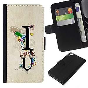 KLONGSHOP // Tirón de la caja Cartera de cuero con ranuras para tarjetas - Te Amo texto del trullo T Corazón Novio - HTC Desire 820 //