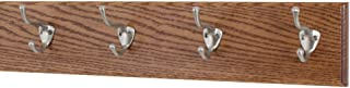 """product image for Oak Wall Mounted Coat Rack with Satin Nickel Hooks 4.5"""" Ultra Wide (Chestnut, 20"""" x 4.5"""" with 4 Hooks)"""