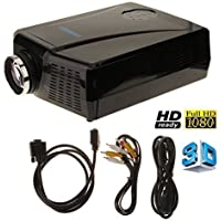 2200 Lumens 3D LCD Projector with HDMI Input , Mini Home Theater Video Movie 3D Projectors or Home Cinema Theater Child Games or Business Presentations and Meetings Black
