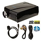 (US) 3000 Lumens 3D LCD Projector with HDMI Input , Mini Home Theater Video Movie 3D Projectors or Home Cinema Theater Child Games or Business Presentations and Meetings Black