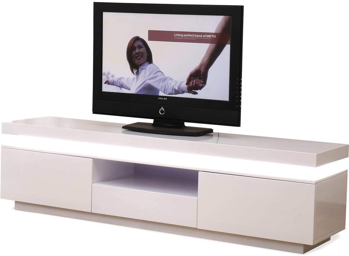 Habitat et Jardin – Mueble TV LED Ruth – 170 x 40 x 45,5 cm, blanco lacado: Amazon.es: Jardín