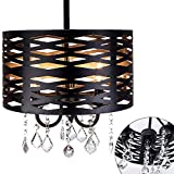 "3-Light industrial Black Round Metal Shade Crystal Chandelier Ceiling Light, Drum Shade Pendant Hanging Lighting Fixture With Crystal Beads,15.7""Diameter"