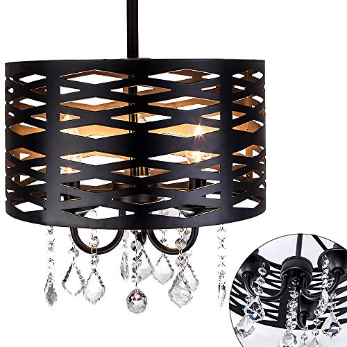 3-Light industrial Black Round Metal Shade Crystal Chandelier Ceiling Light, Drum Shade Pendant Hanging Lighting Fixture With Crystal Beads,15.7''Diameter