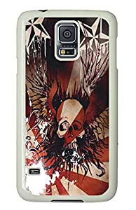 Samsung S5 cute case Winged Skull PC White Custom Samsung Galaxy S5 Case Cover by supermalls
