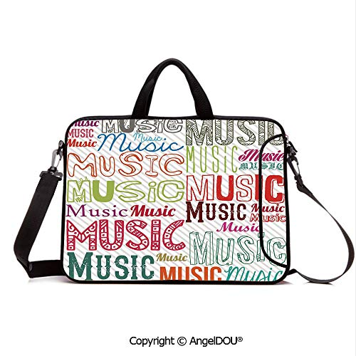 (AngelDOU Laptop Sleeve Notebook Bag Case Messenger Shoulder Laptop Bag Music Typography in Various Styles Rhythm Acoustic Harmony Melody Funky Illustra Compatible with MacBook HP Dell Lenovo Multico)