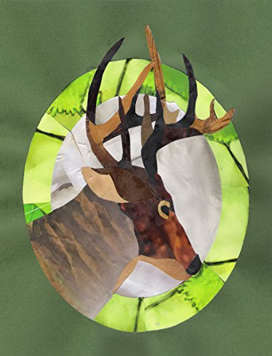 Deer Cut Paper, Recycled Paper Original Collage Art -