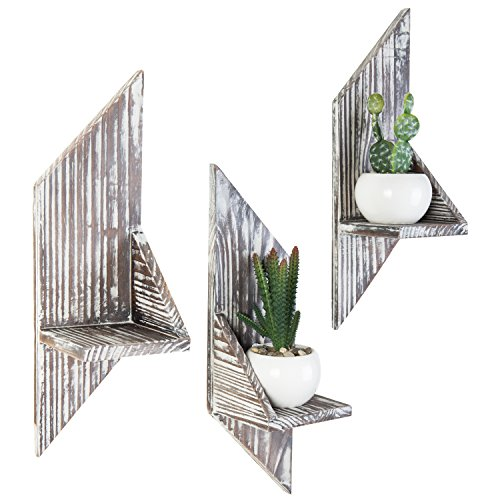 (MyGift Rustic Wall Mounted Wood Accent Shelves, Decorative Display Stand, Set of 3)