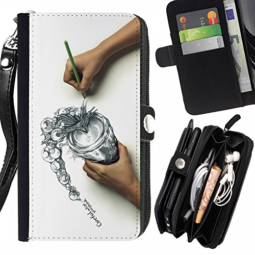 SHIMIN FOR SAMSUNG GALAXY NOTE 3 cool draw sketch careful think spill Zipper Wallet With Strap Card Holder Case Cover