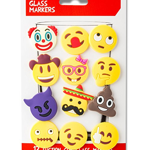 Emoji Charms with Suction 12 Pack, Perfect Markers for Everything from Wine Glass to Red Cups! Lifetime (Multi-Color)