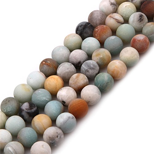 Amazonite Beads for Jewelry Making Natural Gemstone Semi Precious 10mm Round Frosted Matte Mixed Color 15