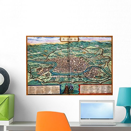 Engraving Rome (Wallmonkeys Map of Rome Engraving Joris Hoefnagel from Civitates Orbis Terrarum Wall Decal Peel and Stick Graphic WM190682 (24 in W x 17 in H))