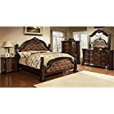 247SHOPATHOME IDF-7296DA-EK-6PC Bedroom-Furniture-Sets, King, Dark Walnut