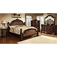 247SHOPATHOME Idf-7296DA-Q-6PC Bedroom-Furniture-Sets, Queen, Dark Walnut