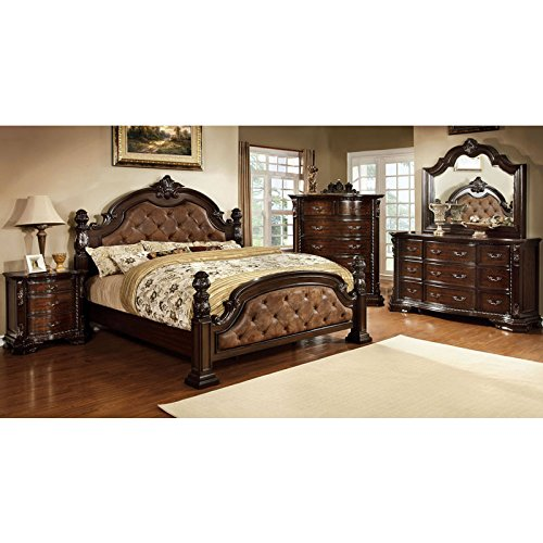 247SHOPATHOME Idf 7296DA CK 6PC Bedroom Furniture Sets, California King,  Dark Walnut
