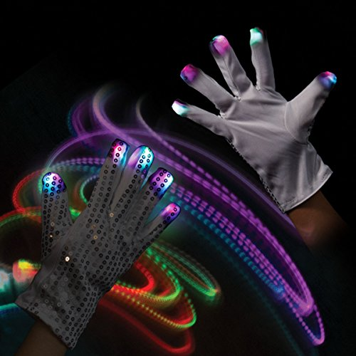 [1 Pair of LED Flashing Light Up Party Rave Gloves - Various Styles by Mammoth Sales (Sequin)] (Michael Jackson Black Or White Costume)