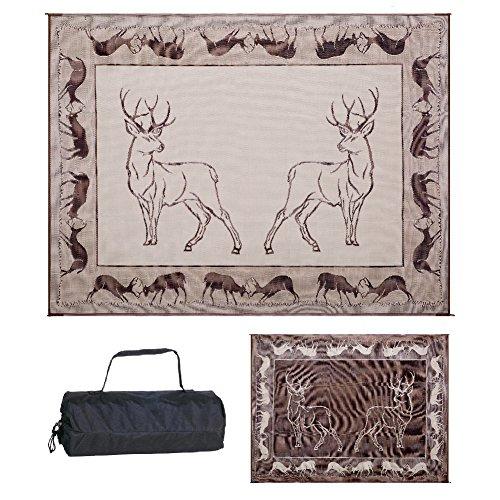 Stylish Camping PA1 Black/ Brown/ Beige 9-Feet x 12-Feet Deer Mat ()