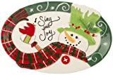 Fitz and Floyd Holly Hat Snowman Sentiment Tray