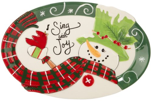 Fitz and Floyd Holly Hat Snowman Sentiment Tray ()