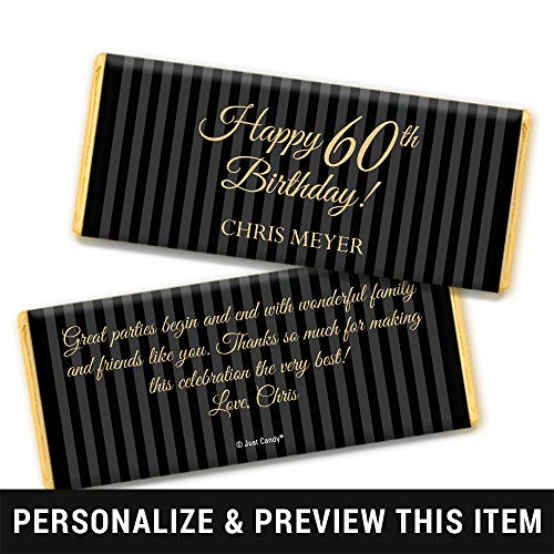 60th Birthday Favors Personalized Chocolate Bar Wrappers - Gold Foil (25 Count)