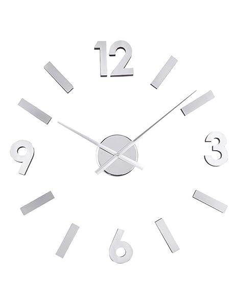 Reloj de pared adhesivo cromado