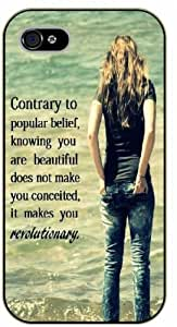 iPhone 4 / 4s Knowing you are beautiful does not make you conceited, it makes you revolutionary, black plastic case / Inspirational and motivational life quotes / SURELOCK AUTHENTIC