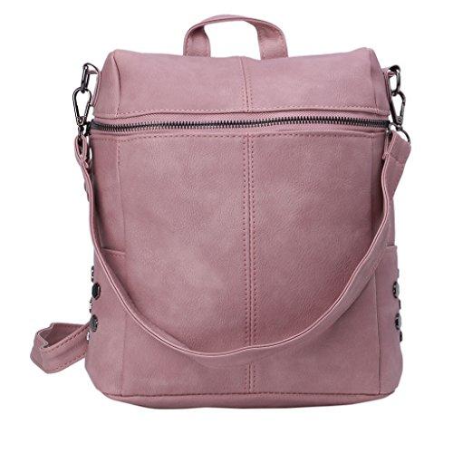 Jagenie Beige Zaino La Viaggiare Scuola A Similpelle E Per Ragazze Pink 28x13x32cm Tracolla f1f4q