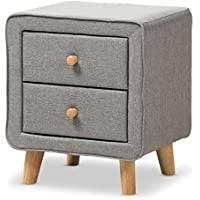 Baxton Studio IsabelleMid-Century Grey Fabric Upholstered 2-Drawer Nightstand, Nightstand, Grey