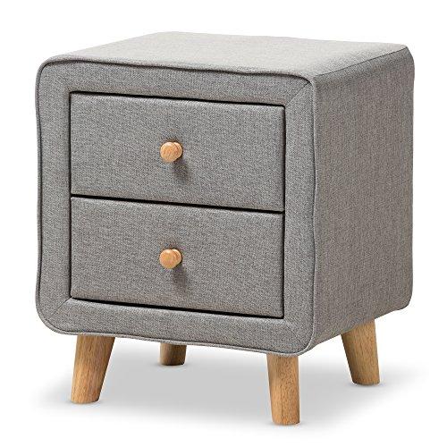 Baxton Studio IsabelleMid-Century Grey Fabric Upholstered 2-Drawer Nightstand, Nightstand, Grey (Designer Fabric Drawers)
