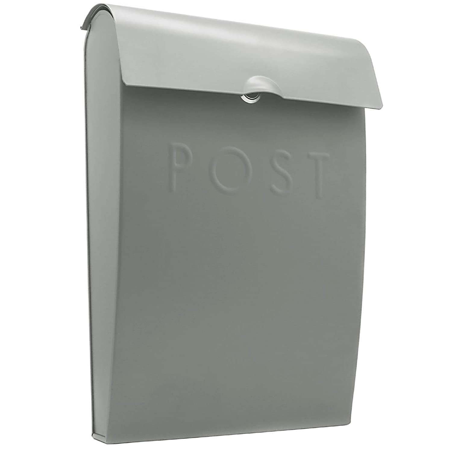 Wall Mounted Post Box | Galvanised Steel Outdoor Mailbox | Lockable Weatherproof Outside Postbox | M&W (Grey) Xbite