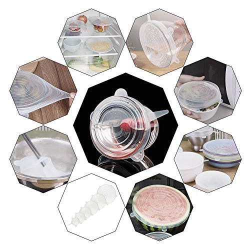 Food Grade Easy to Clean Reusable Silicone Stretch Lids (12, Transparent and Blue) by WDWYW (Image #7)'