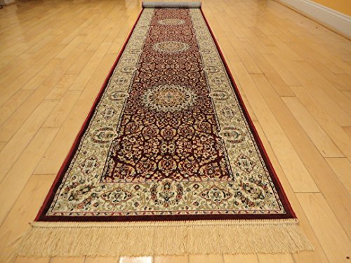 Silk Persian Style Area Rug Long Hallway and Stair Runner Area Rugs Carpet 2x12 Hallway Runners Dining Room Rug Living Room Carpet Luxury Rug (Red, 2'x12' Hallway Runner)