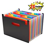 Caveen 24 Pockets Expanding Files Large Capacity A4 Letter Size Colorful File Organizer Plastic Stand Expandable Portable Accordion Folder Business File Home Paper Organizer Bag