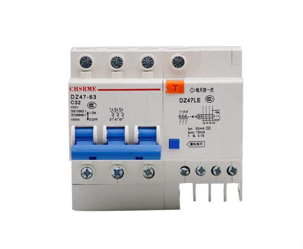 OIASD Interrupteur pneumatique avec Protection Contre Les fuites DZ47LE Disjoncteur de fuites Domestique, 20A