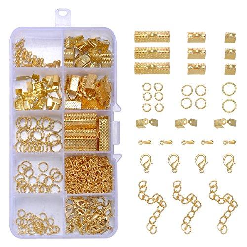 [YF] 基礎パーツ 金具セット ジャンプリング リング キーホルダー ロブスターバックル ホースバックル ホースクリップ チェーン ドロップ型 DIY ボックス セット 200個 ゴールドの商品画像