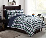new york bed in a bag - Full BED-in-a-BAG Set : Preppy Plaid Design , Luxurious Microfiber in Blue ; Complete Set Includes Reversible Comforter , Pillow Shams , Sheet Set: Fitted, Flat & Pillowcase , Bedskirt