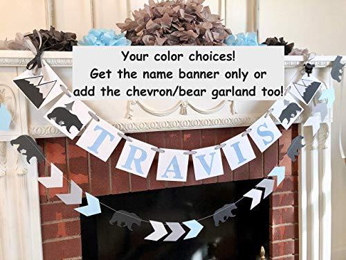 (Adventure Baby Shower Decorations - Personalized Monochrome Birthday Decorations - Baby Bear Birthday Banner - Adventure Nursery Decor)