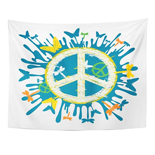 VaryHome Tapestry Blue Sign Hippie Peace Symbol