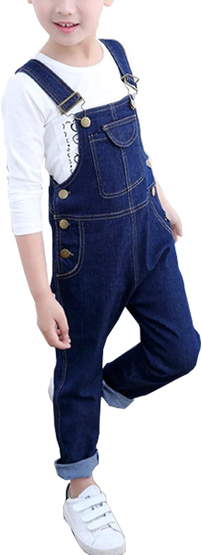 OneBoy Kids Boys' Casual Adjustable Straps Slim Fit Denim Bib Overalls Age 4-11 Years