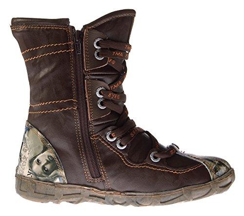 TMA Leder Stiefeletten 2013 N Damen Köchel Schuhe Schwarz Rot Braun Weiß Winter Stiefel Gefüttert Braun